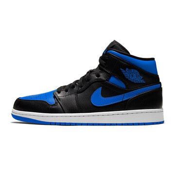 Nike20春AIR JORDAN 1 MID黑蓝皇家蓝中帮男篮球鞋554724068